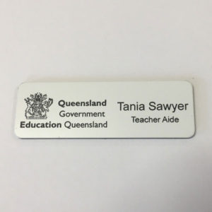 White Name Badge with logo + Pin Laserable Plastic 70 x 23mm