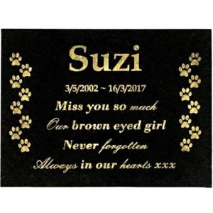 Custom Engraved Dog Memorial Plaque Black Granite with mounting holes 200x150