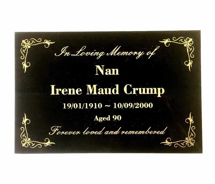 Grave Memorial Marker Custom Laser Engraved on Black Granite 300 x 200 mm
