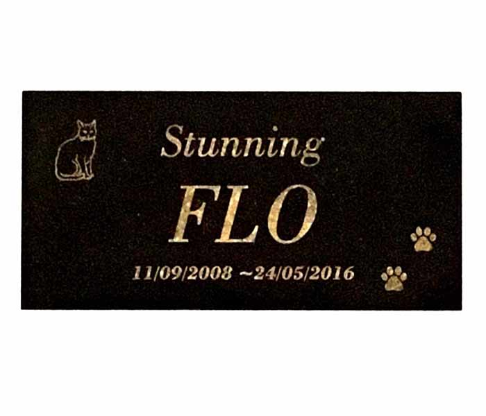 CAT Memorial Plaque Laser Engraved Black Granite (no holes) 150 x 100mm