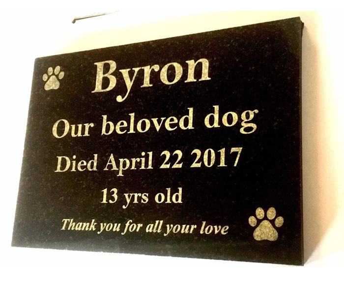 Dog Memorial Custom Laser Engraved Black Granite on wrought iron stand 200x150mm
