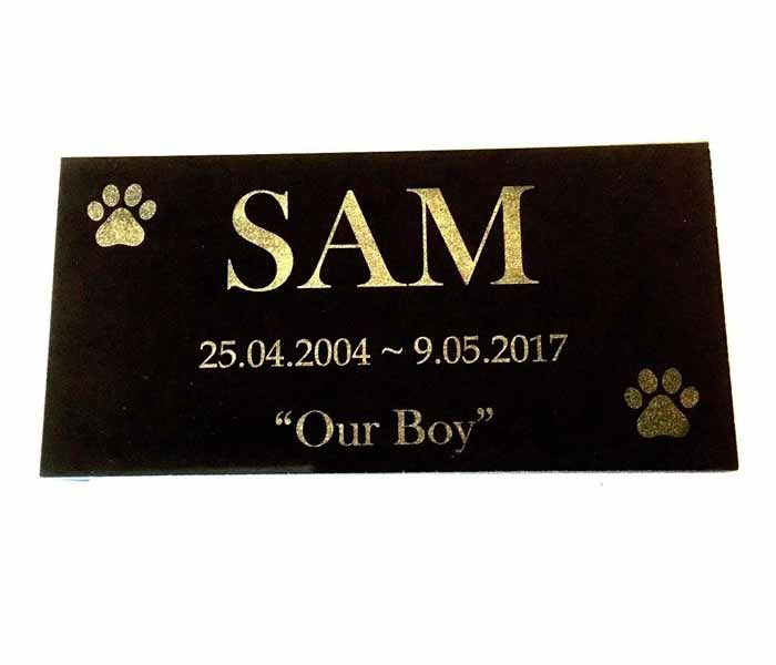 Dog Memorial Personalised Laser Engraved on Black Granite no holes 150 x 100 mm