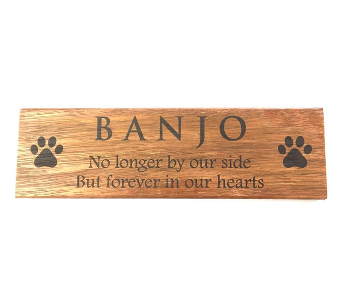 Dog Memorial Personalised Laser Engraved on Kwila Wood 300 x 140mm