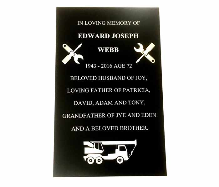 Durablack ENGRAVED Memorial Marker Aluminium OUTDOOR Weatherable UV 300x220mm