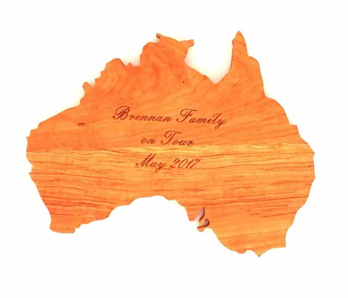 Gift Walnut / Maple Australia Chopping Board Custom Laser Engraved 350x280mm