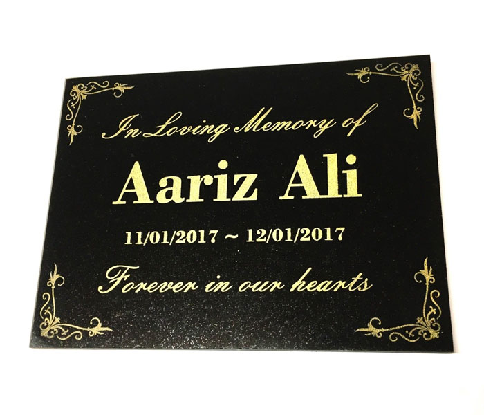 Grave Marker Engraved Black Granite with corner scrolls or border 200 x 150 mm
