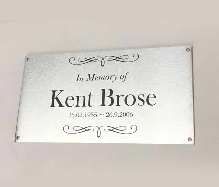 Grave Marker Engraved Memorial Stainless Steel with 4 Mounting Holes 200x100mm