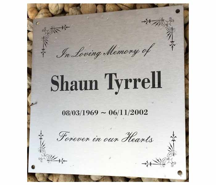 Grave Marker Memorial Laser Engraved Stainless Steel mounting holes 300x300mm