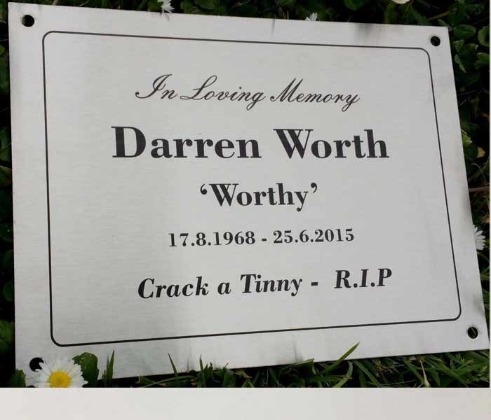Grave Memorial Engraved Stainless Steel with mounting holes & border 200x150mm