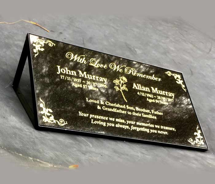 Grave Memorial Marker Custom Laser Engraved Black Granite on Stand 600x300mm