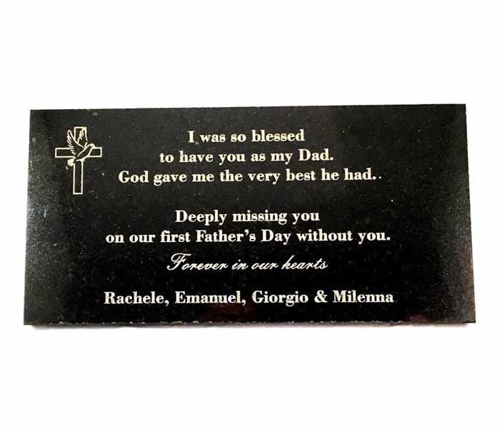 Grave Memorial Marker Custom Laser Engraved on Black Granite 300x150mm
