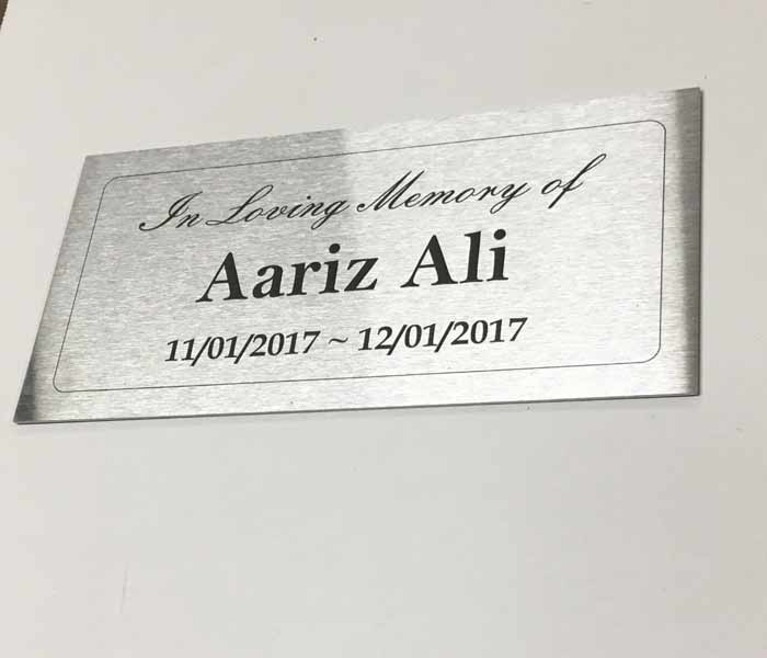Grave Memorial Marker Marine Grade Stainless Steel 300x100 mm