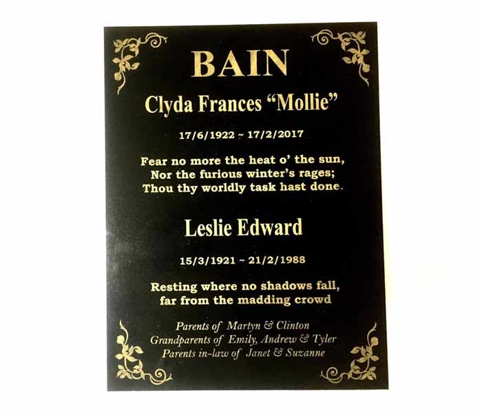 Grave Memorial Marker custom laser engraved black granite 300x400mm