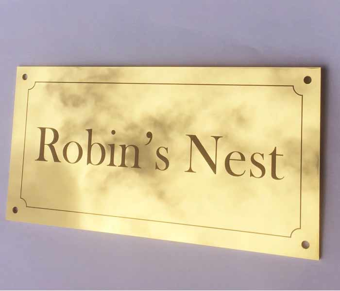 House Sign Gold Mirror Stainless Steel finish Laser Engraved 200 x 100 mm