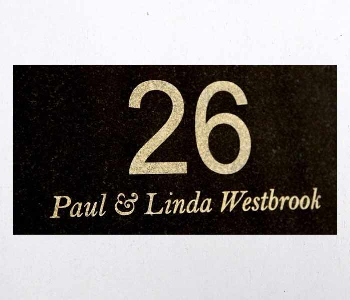 House Sign or house number custom laser engraved black granite no holes