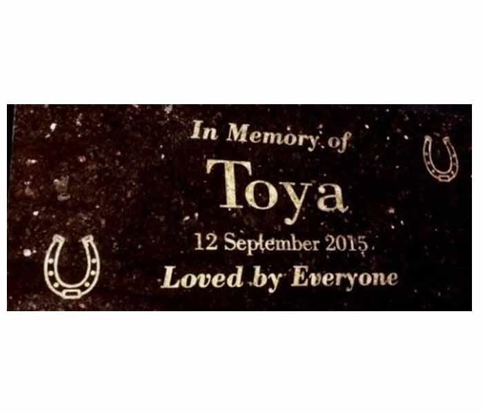 Memorial Horse Plaque Custom Engraved on Black Granite