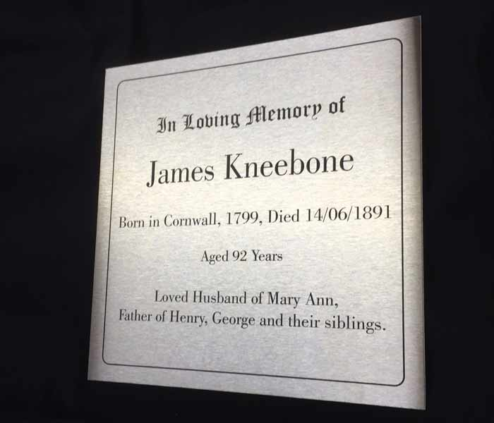 Memorial Marker Custom Laser Engraved Stainless Steel no holes 200x200mm