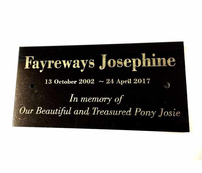 Pet Horse Memorial Customised Laser Engraved Black Granite on stand