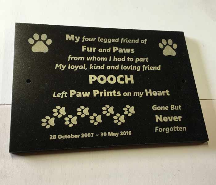 Pet Memorial Custom Laser Engraved Black Granite with mounting holes 300 x 200mm