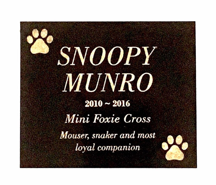 Pet Memorial Custom Laser Engraved on Black Granite (no holes) 200x150mm