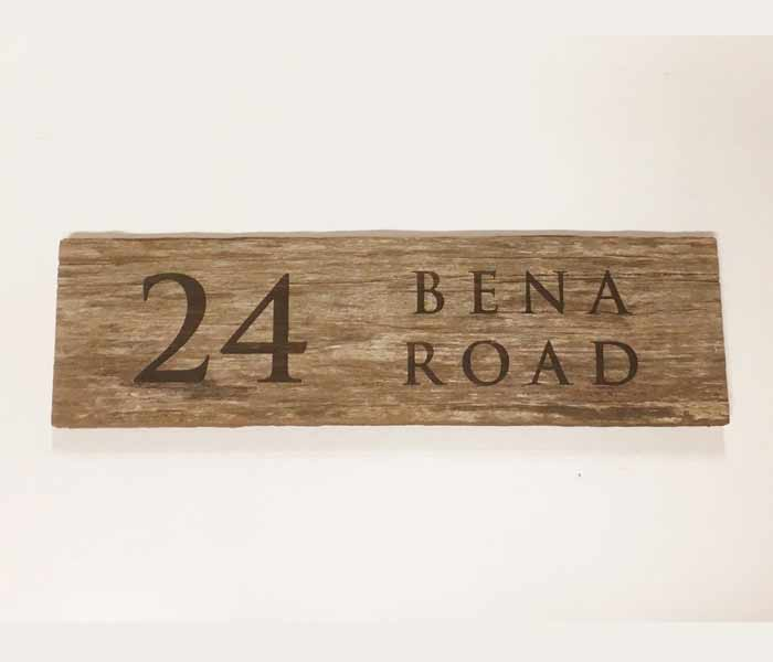 Recycled Wood Fence Palings House Sign Laser Engraved 300 x 140 mm