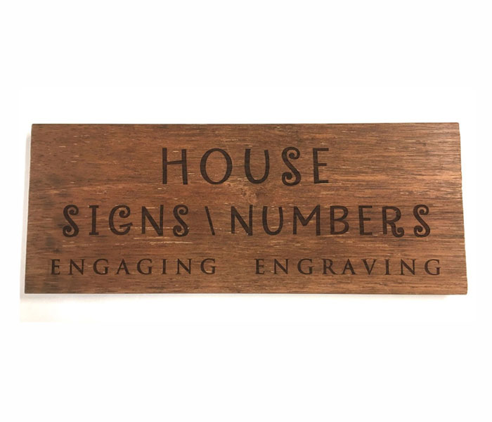 Wood House Sign Custom Laser Engraved Hard Wood 600 x 140 mm