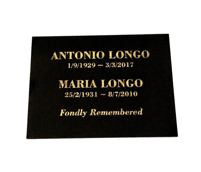Grave Marker Memorial Custom Laser Engraved black granite on stand 200X150mm