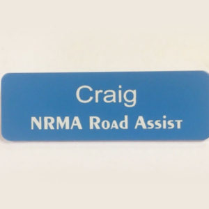 Light Blue Name Badge with White Text + Pin attached Laserable Plastic 70 x 23mm