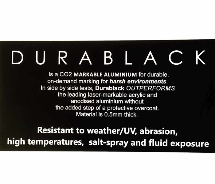 Durablack ENGRAVED SIGN Aluminium OUTDOOR Weatherable UV 200x100