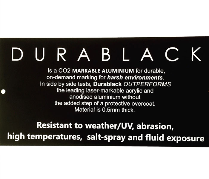 Durablack ENGRAVED SIGN Aluminium OUTDOOR Weatherable UV Mounting Holes 200x100