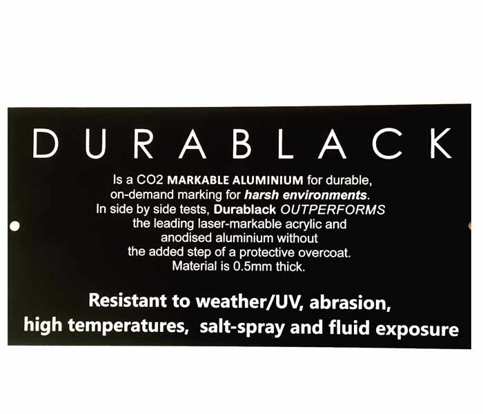 Durablack ENGRAVED SIGN Aluminium OUTDOOR Weatherable UV Mounting Holes 300x150