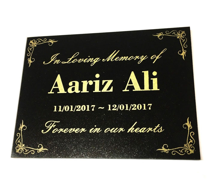 Grave Marker Memorial Customised Engraved Black Granite 200x150mm
