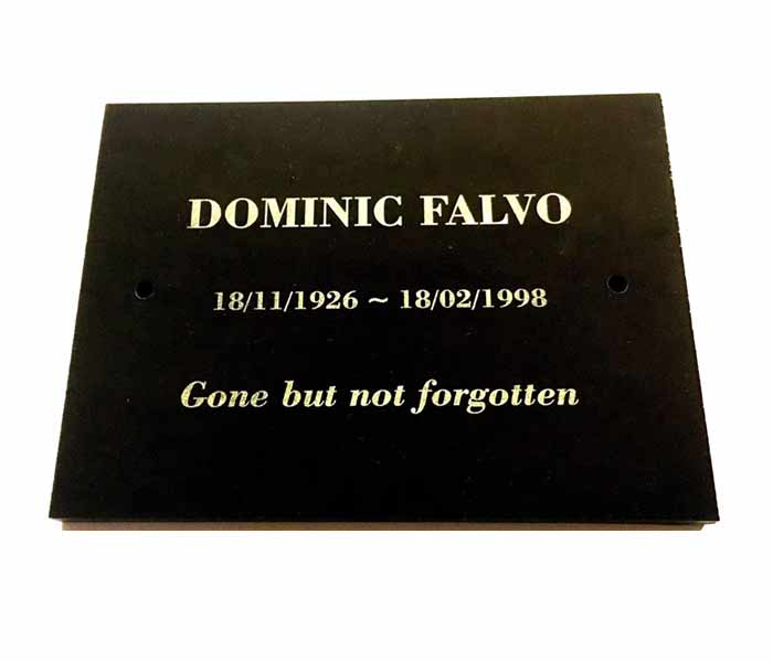 Grave Marker Memorial Customised Engraved Black Granite Mounting Holes 200x150mm