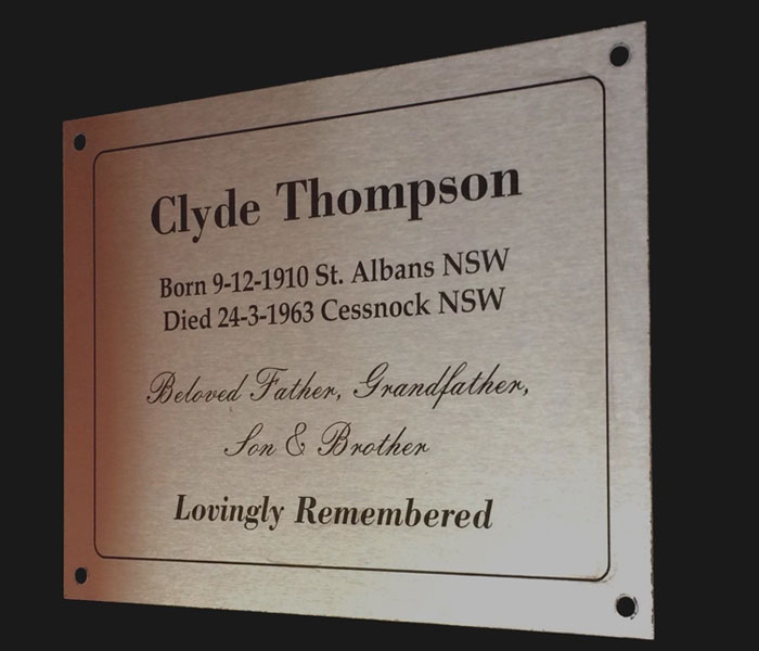Grave Memorial Customised Engraved Stainless Steel, mounting holes 200 x 150 mm