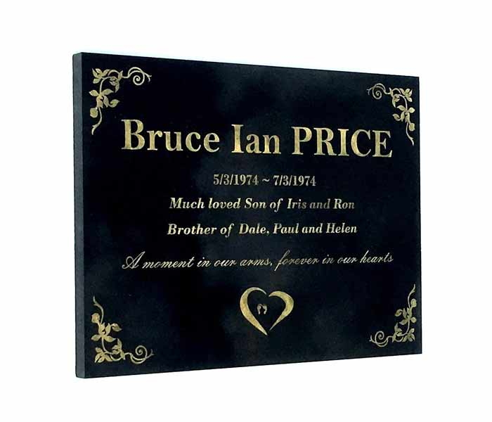 Grave Memorial Marker Custom Laser Engraved Black Granite 400 x 300 mm
