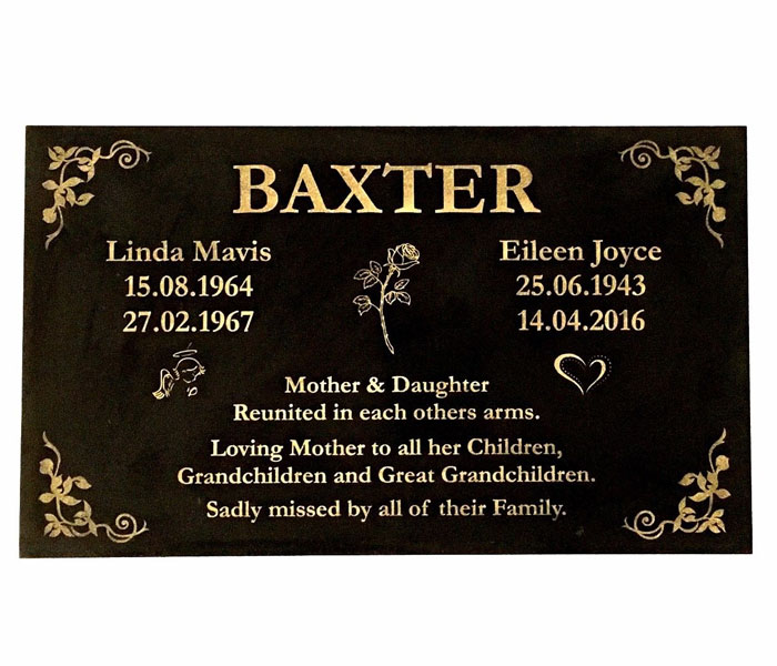 Grave Memorial Marker Custom Laser Engraved Black Granite 600 x 300 mm