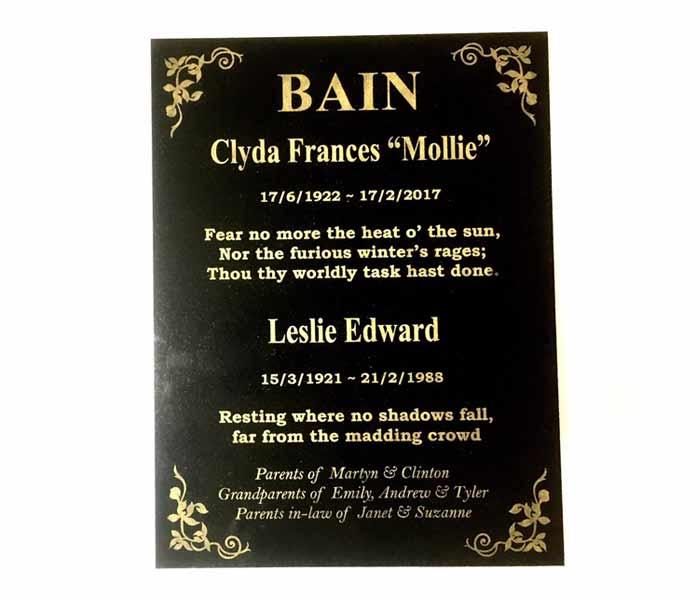Grave Memorial Marker custom laser engraved black granite 300x400mm