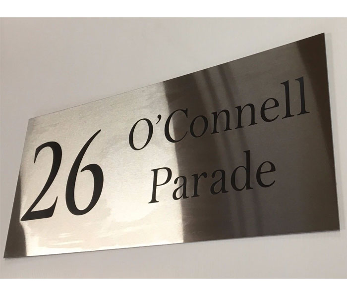 House Number Sign Customised Laser Engraved Stainless Steel 600 x 250 mm