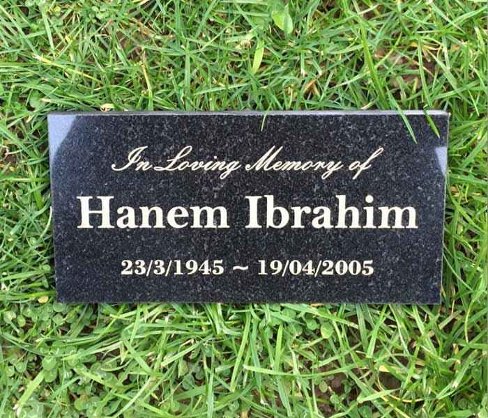 Memorial Grave Marker Custom Laser Engraved Black Granite