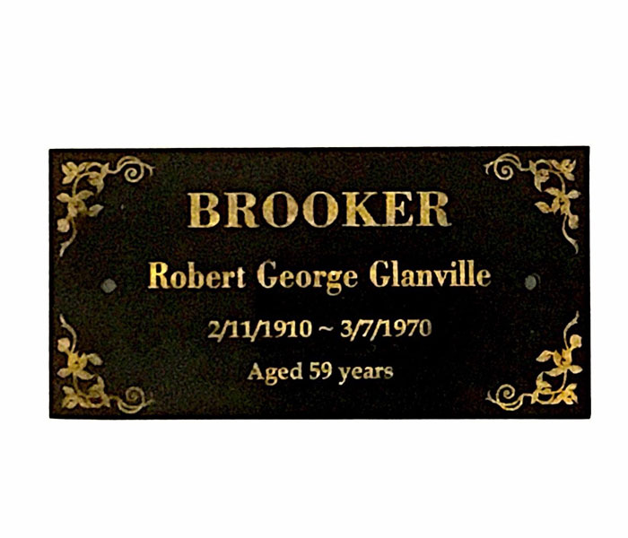Memorial Plaque Intricate Scrolls Laser Engraved on Black Granite