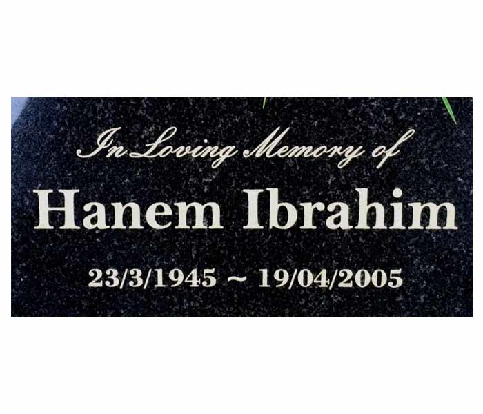 Memorial garden marker customised engraved black granite with stand