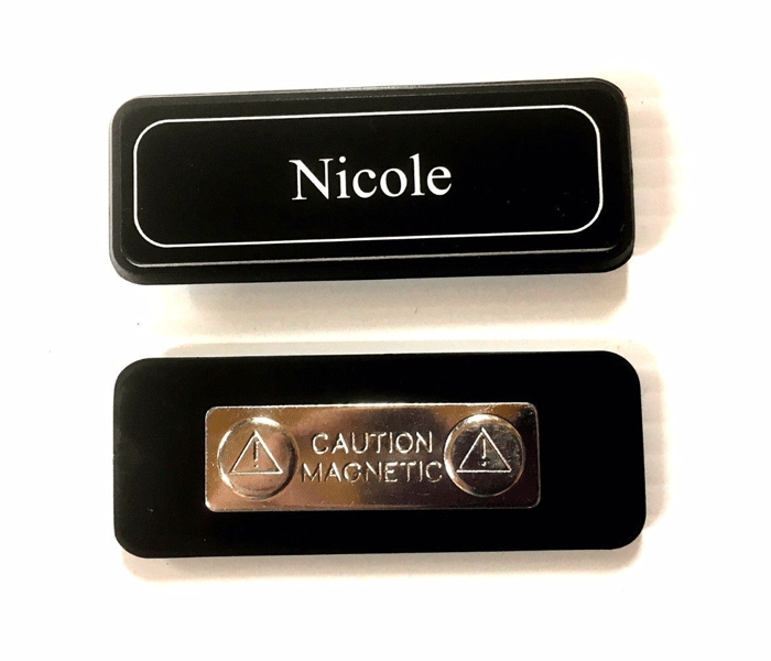 Name Badge attached to badge holder + magnet attached, laserable plastic 70X23mm
