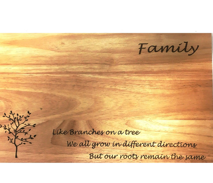 Wood chopping Board Personalised Laser Engraved 380 X 230mm
