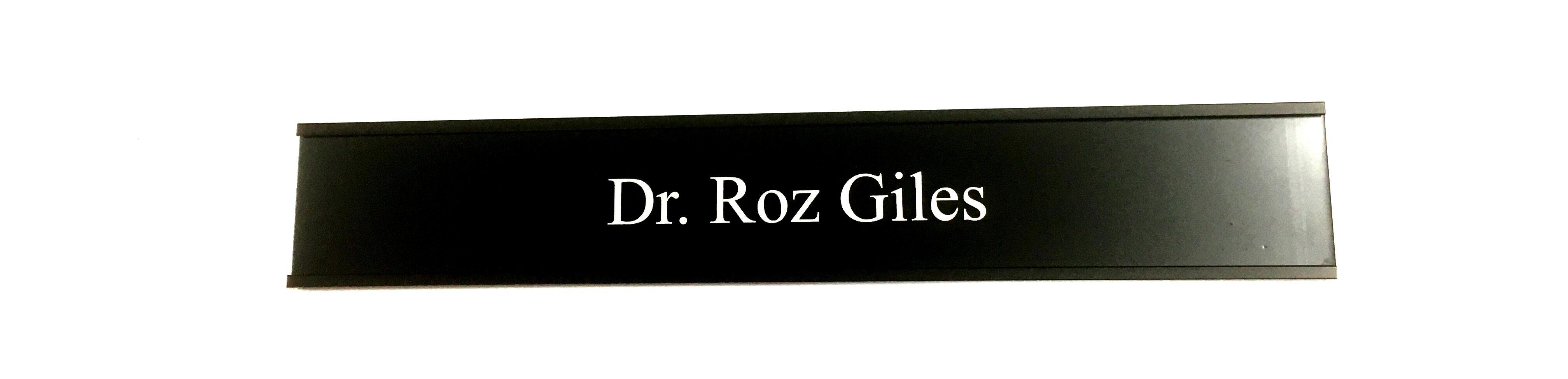 Black Door Name Plate & Extrusion 250mm x 38mm